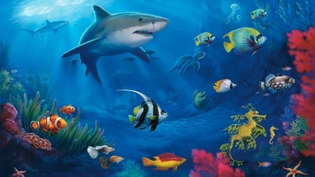 under the sea - shark, water, angelfish, sea dragon, coral, sea horse, goldfish, starfish, reef