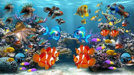 under the sea - clown fish, lion fish, water, octopus, coral, pihranna