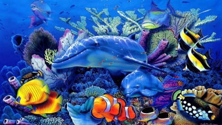 under the sea - dolphin, coral, angel fish, clown fish