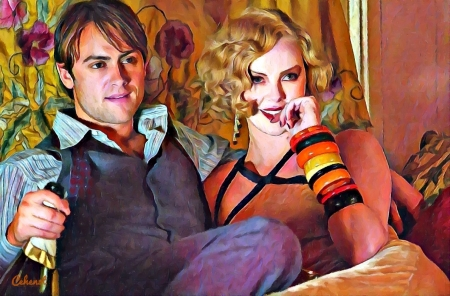 Stuart Townsend and Charlize Theron (Head in the clouds) - by cehenot, man, cehenot, couple, art, Stuart Townsend, movie, guy, Charlize Theron, gilda, head in the clouds, girl