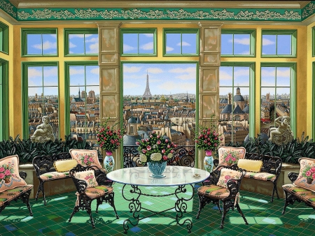 Victorian Room - table, city, france, window, paris, chairs, flowers, painting