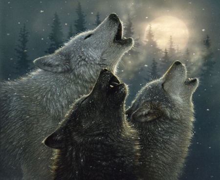 In Harmony - moon, wolves, night, howling, painting