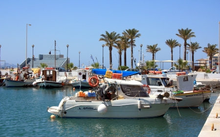 Harbor in Greece - Greece, boats, palms, harbor