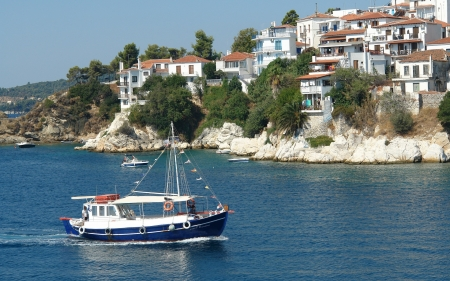 Skiathos Island, Greece - island, Greece, ship, houses