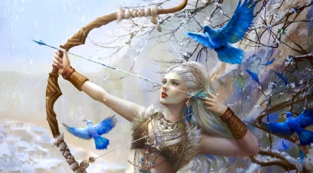 The Archer - art, fantasy, girl, birds, digital, archer, woman, blue, pretty