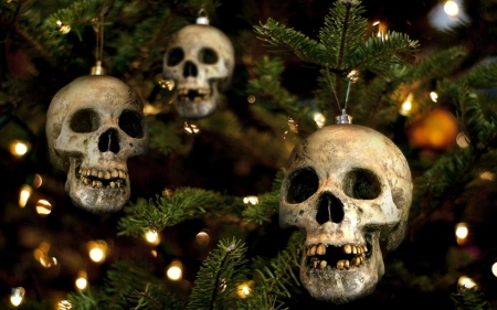 Gothic Christmas - joke, tree, christmas, gothic, skull, horror, wall