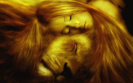 Moon in Leo - art, fantasy, golden, lion