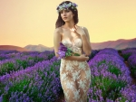 Gorgeous Woman in Lavender Field