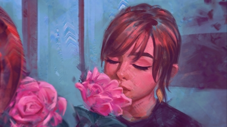 The pink rose fragance - art, fantasy, rose, girl, angel ganev, pink, blue