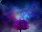Fantasy field with purple tree