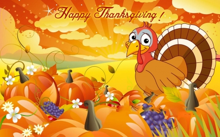 Happy Thanksgiving Greeting - turkey, pumpkins, greetings, thanksgiving, banner