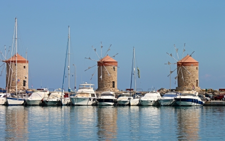 Windmills on Rhodes Island, Greece - boats, Greece, island, windmills, marina
