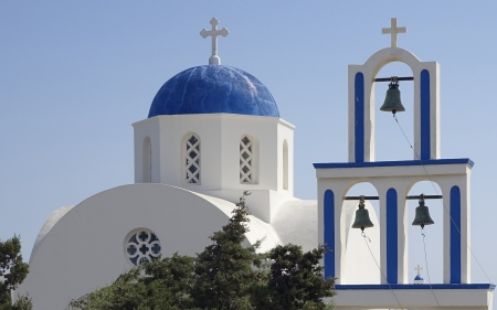 Church Bells in Santorini, Greece - crosses, island, Greece, church, Santorini, bells