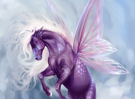 Sea creature - purple, marianna gadzhy, sea creature, pink, fairy, blue, wings, luminos, horse, fantasy