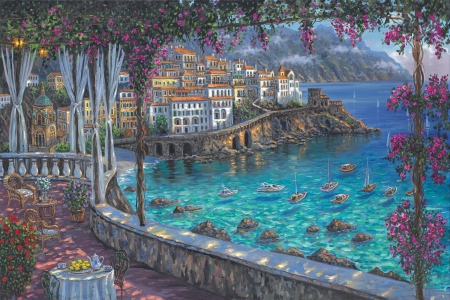 Amalfi coast - summer, painting, sea, art, luminos, amalfi coast, terrace, robert finale, water, vara, flower, pink
