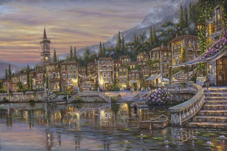 Lake Como Italy - robert finale, art, water, lake como, painting, pictura, blue, italy