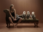 three owls and a lady