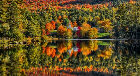 Colorful autumn reflections - lake, foliage, forest, colorful, fall, autumn, beautiful, trees, mountain, tranquil, serenity, river, reflection
