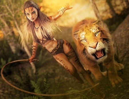 Lion Girl Fantasy Abstract Background Wallpapers On Desktop