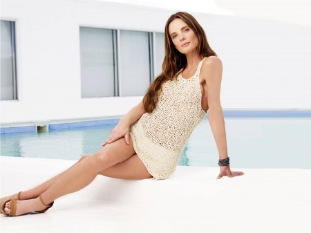 Gabrielle Anwar - shirt, legs, model, Anwar, beautiful, 2018, heels, pool, Gabrielle Anwar, actress, wallpaper, Gabrielle, shorts, hot