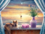 cats-cat-window-art-sailboat-flower-animal-pictorial-sea-sunset-painting-smiling-wallpapers