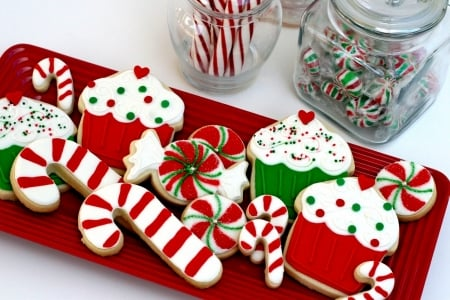 Colorful Christmas Cookies Photography Abstract Background
