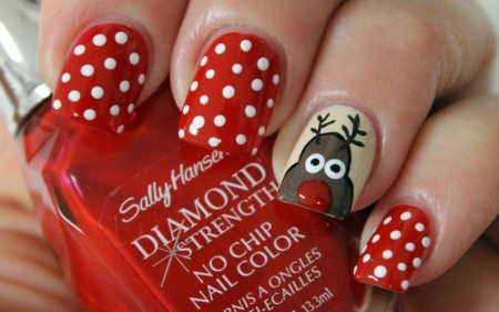 Christmas Nail Art - Brown, Reindeer, Red, White, Art, Rudolph, Nail