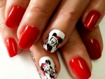 Disney Mickey Minnie Mouse Christmas Nails
