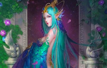 Peacock Fantasy Girl Fantasy Abstract Background