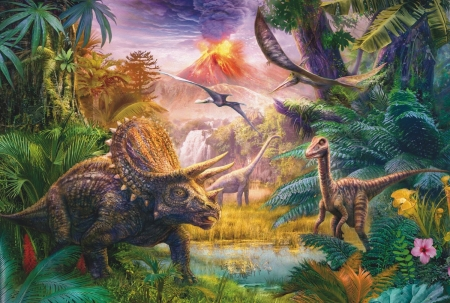 Valley of the Dinosaurs - prehistoric, puzzle, dinosaurs, valley, animals