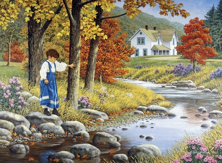 On water - colorful, house, lovely, autumn, farmer house, beautiful, sloane, peaceful, color, child, river, nature, outdoor