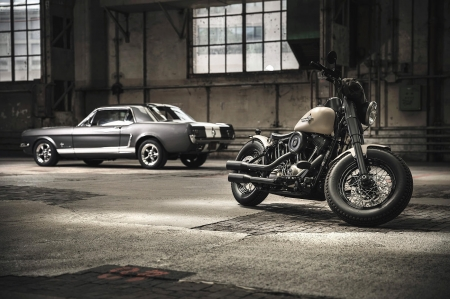 Mustang and Harley - harley, ford, photo, mustang, Car, davidson, motorbike