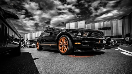 Black Ford Mustang - fast, car, mustang, muscle, black, sports
