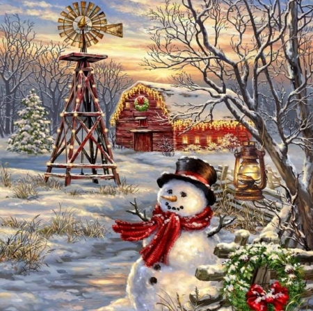 Christmas Windmill - wreathes, farms, snowman, Christmas, windmill, holidays, Christmas Tree, lantern, love four seasons, xmas and new year, paintings, snow
