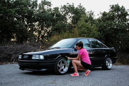 Lets clean the wheels! - jr15, audi, audikamei, babe, clean, kamei, youngtimer, audi80, tuned, girl, japanracing, shiny