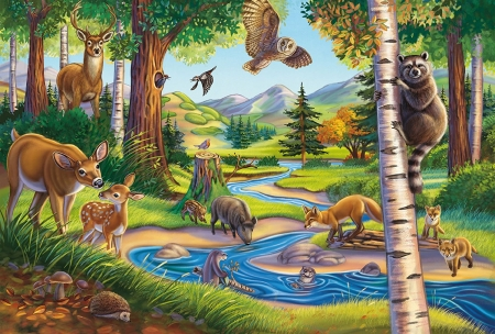 Forest Animals - eagle, creek, puzzles, deer
