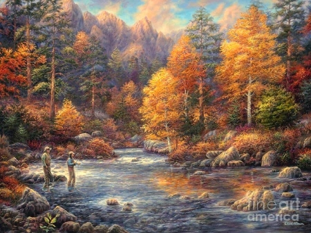 Fly Fishing Legacy - fall season, autumn, love four seasons, colors, attractions in dreams, trees, paintings, leaves, mountains, forests, nature, fishing, rivers