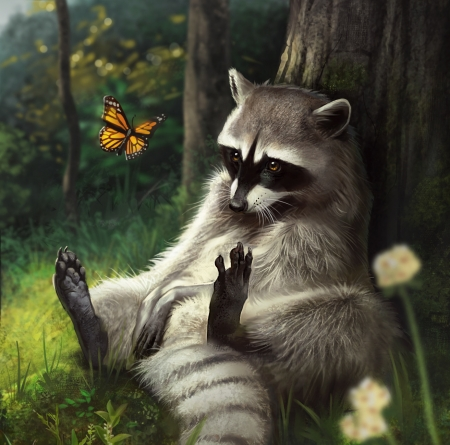 Raccoon - fantasy, butterfly, luminos, alex shiga, raccoon, animal, art, forest, raton, cite