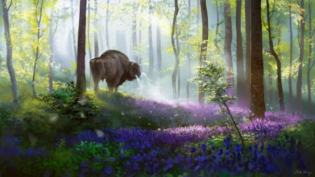 Bison's daydream - fantasy, luminos, flower, buson, alex shiga, animal, art, forest, pink, blue