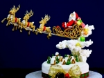 Santa and Reindeer Up Up And Away Cake