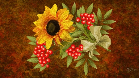 Sunflower Splendor - fall, autumn, leaves, berries, mountain ash, flowers, sunflower, floral, Firefox theme