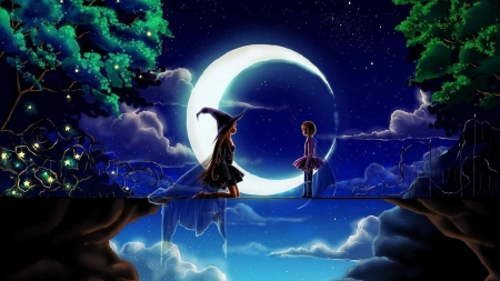 Moonlight walk fantasy abstract background wallpapers - Best site to download anime wallpapers ...