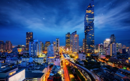 bangkok nights - city, buidling, thailand, bangkok