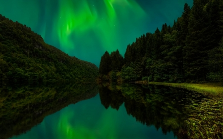 Northern lights - Winter, Night, River, Water, Lights, Northern
