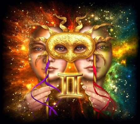 Zodiac Gemini - art, faces, mask, twins