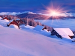 Colorful winter morning in the Carpathian mountains