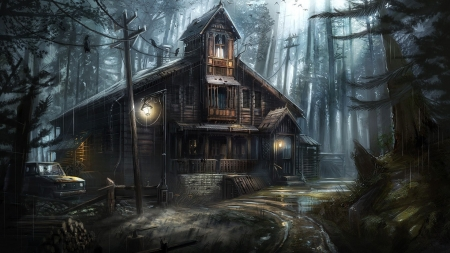 Haunted House Horror - fantasy, dark, forest, arts, crows, black