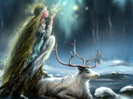 Fairy's Night - reindeer, snow, girl, winter, art
