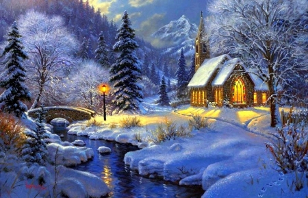 Church Painting - forest, painting, church, snowy