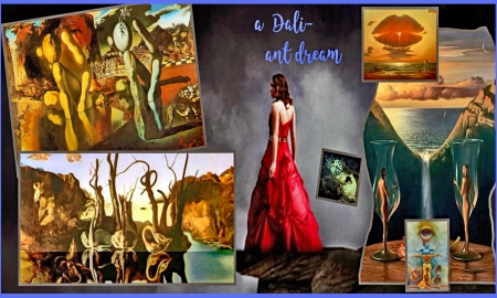 a Dali-art Dream - Dali, red dress, painting, dreams, Art, collage, surreal, imagination